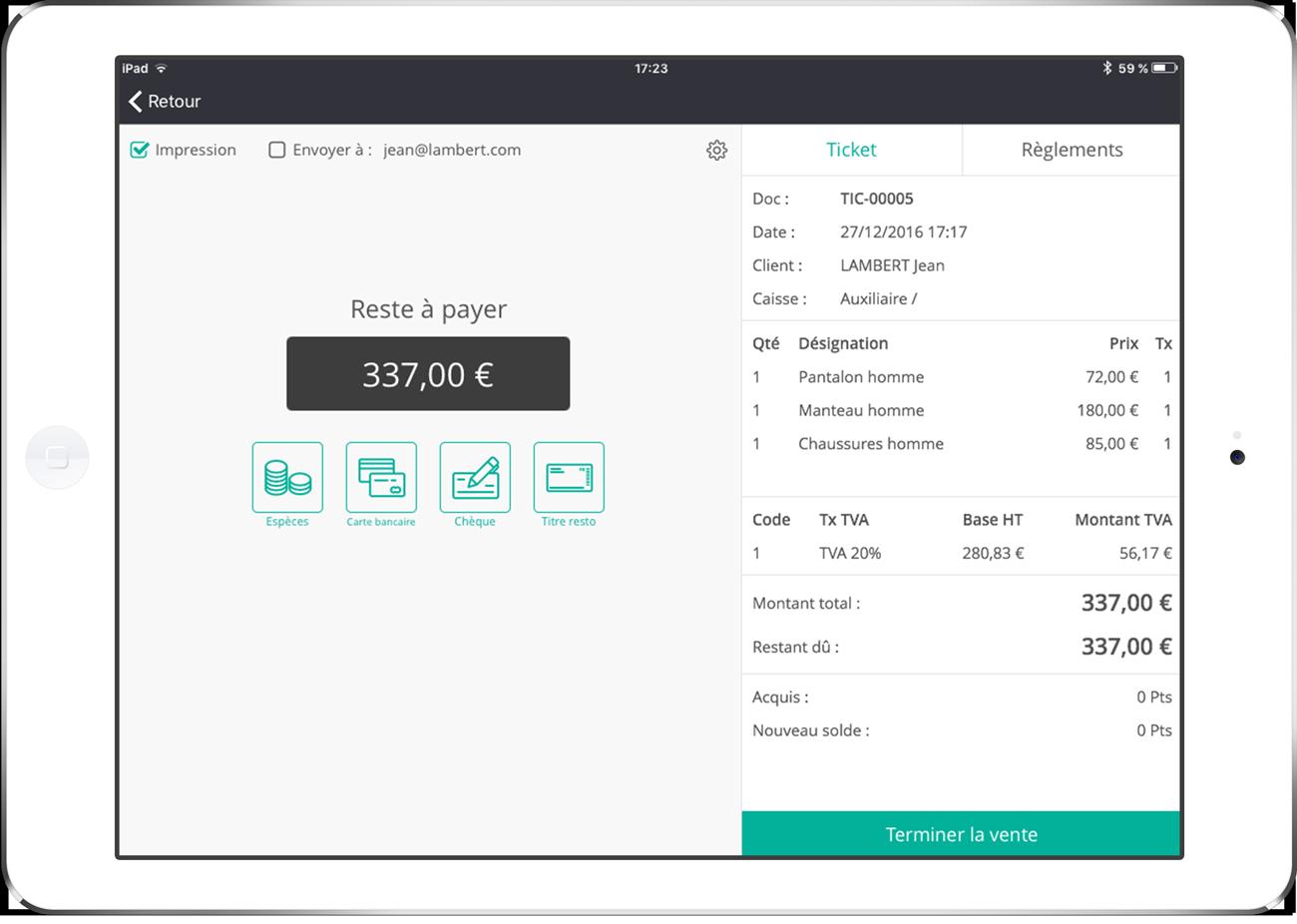 RoverCash est un système d'encaissement sur tablette