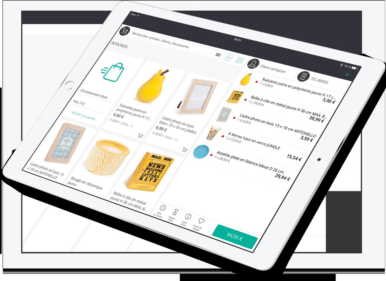 L'application de caisse qui permet de vendre les produits sur tablette.