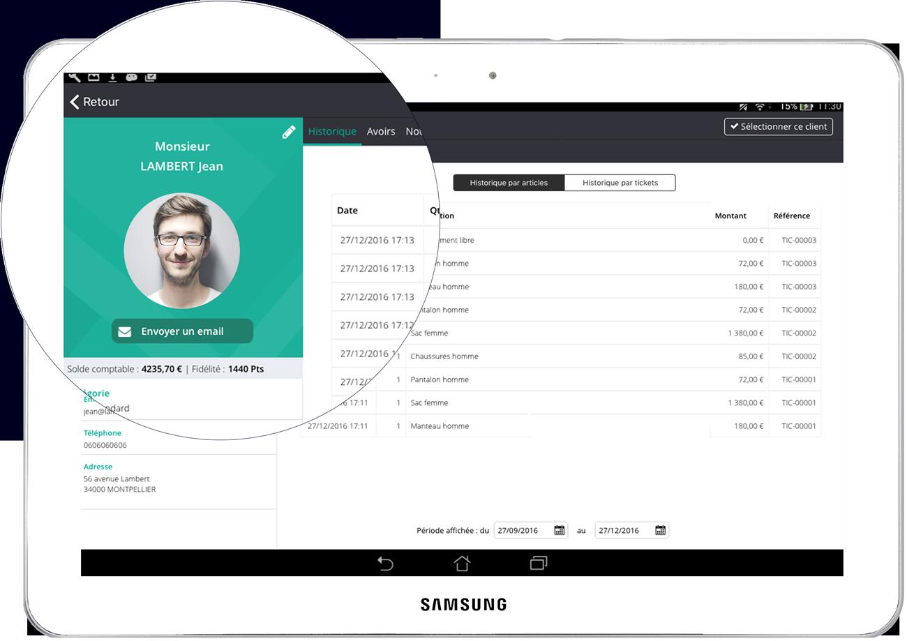 Le logiciel de caisse enregistreuse permet de créer des fichets clients complètes