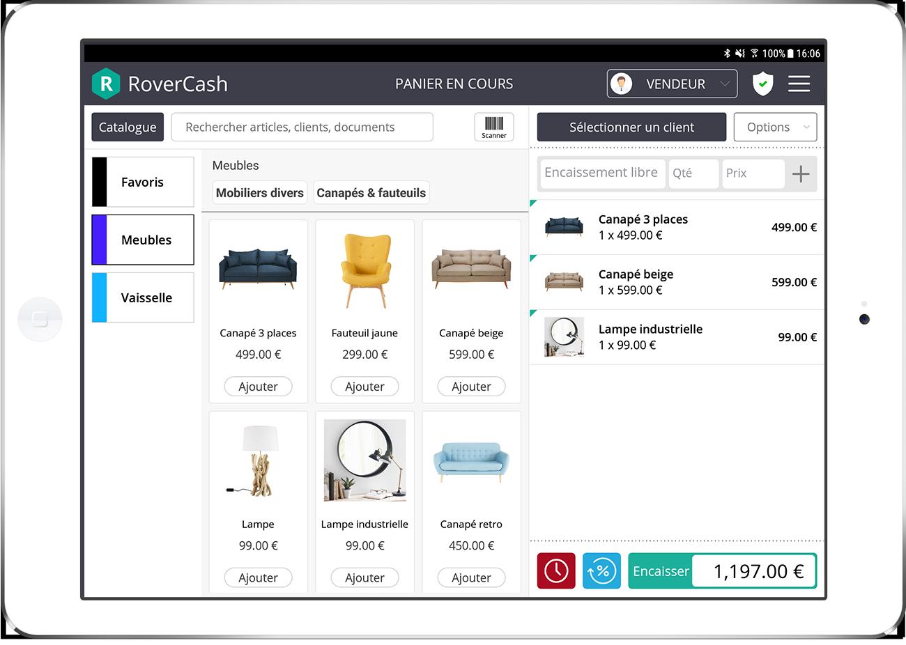 RoverCash est une application de caisse qui permet d'effectuer vos ventes et encaissements